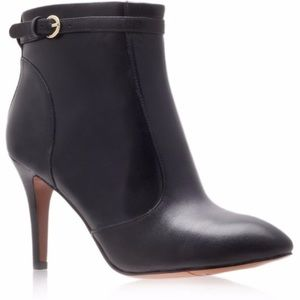 Nine West Black Leather Heeled Ankle Boots 9.5
